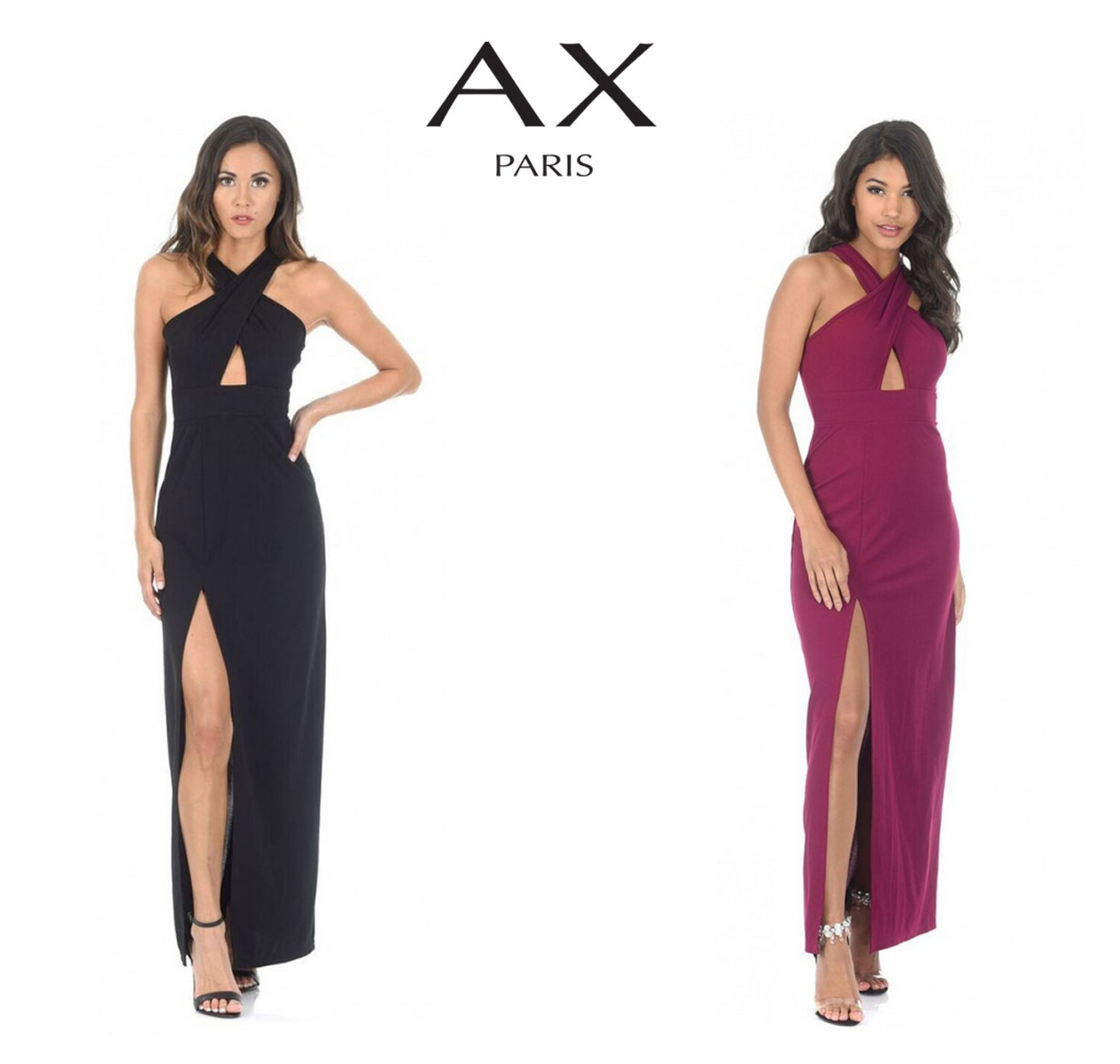 e7f58c27d89 Get ready to steal the show with this black maxi dress with a thigh high  split. Featuring a glamorous cross front style guaranteed to turn heads.