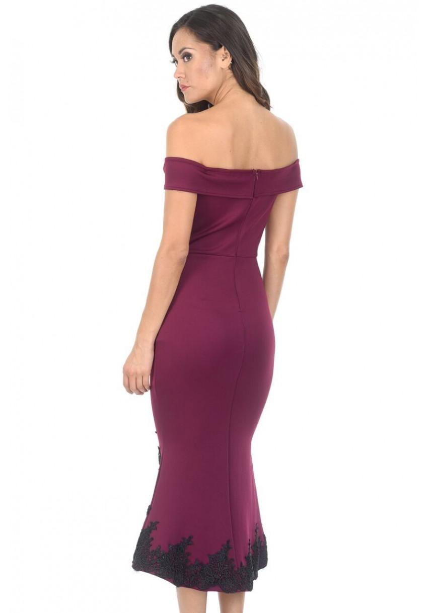 Bodycon Bardot Dress - Plum AX PARIS Cheap Sale 2018 New Best Place Cheap Sale 2018 Newest AXtAJBDE8Q