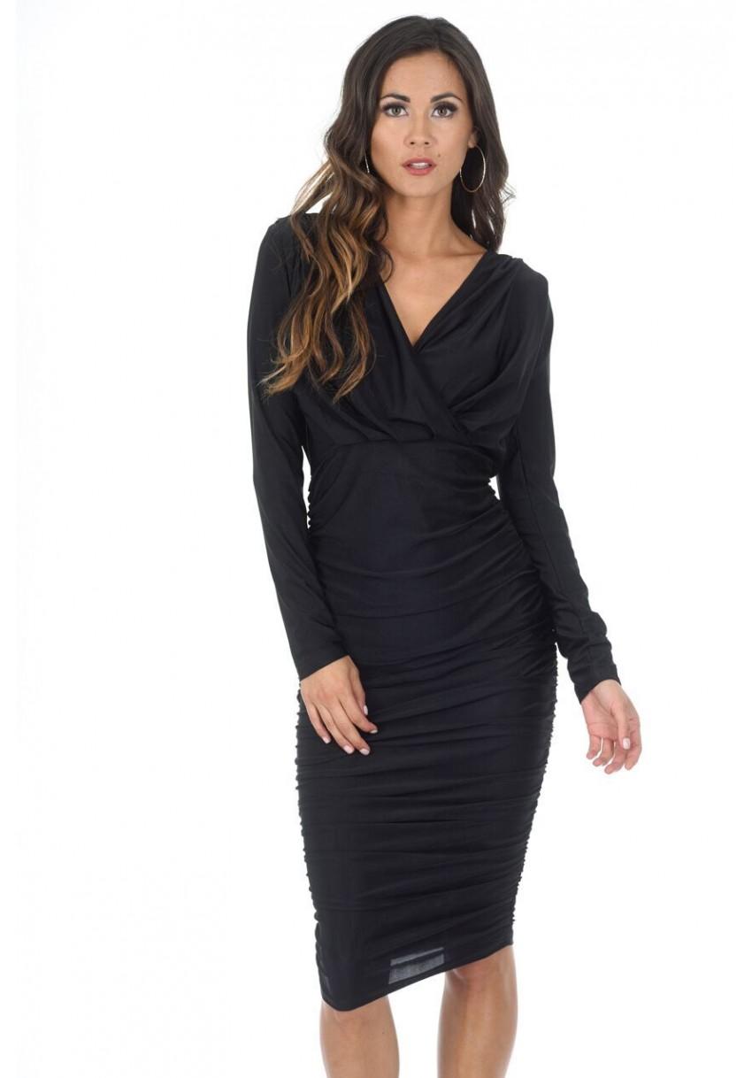 Details about AX Paris Womens Black Ruched Wrap Midi Dress 5dcfcfbf0