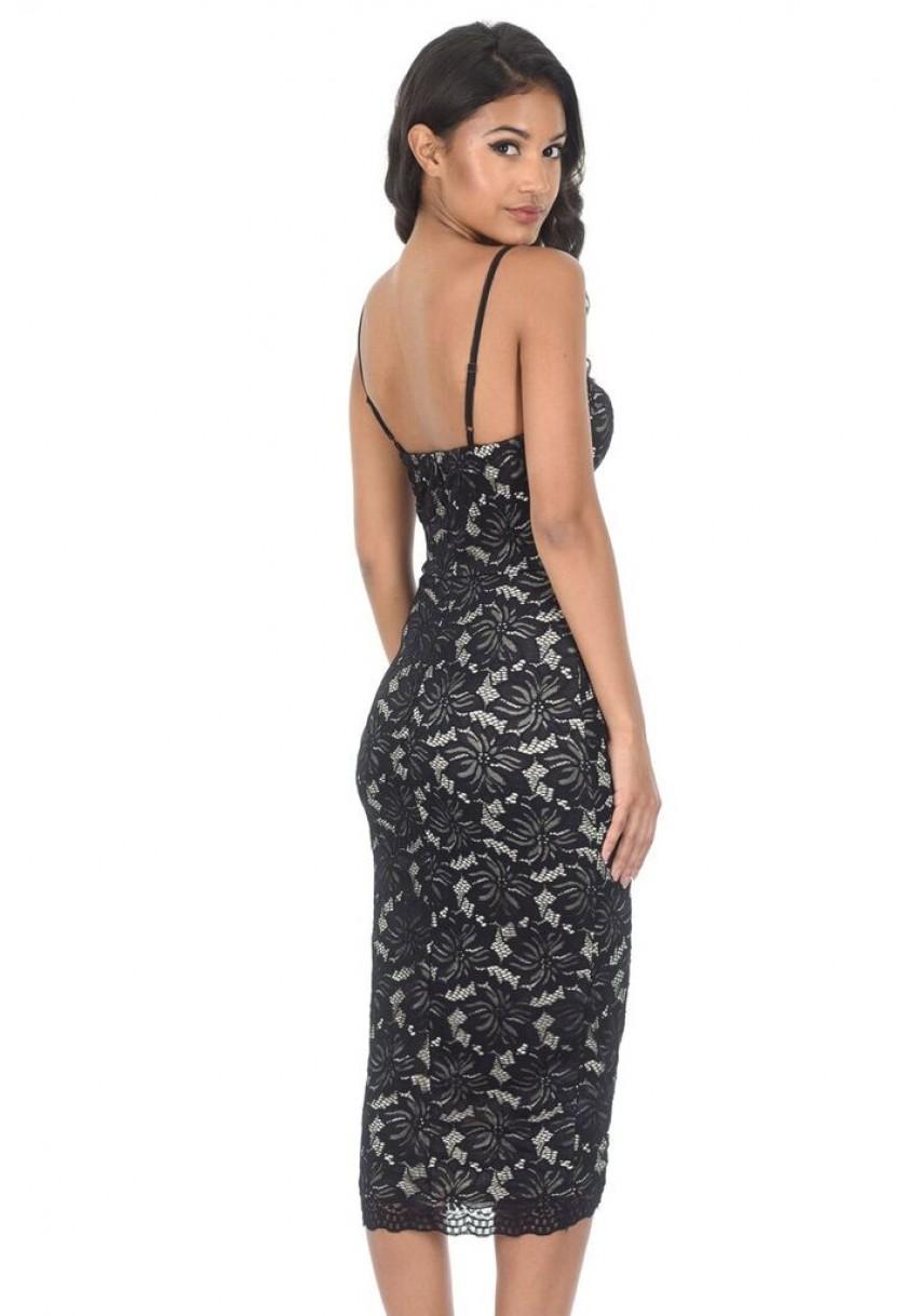 e9f6bf9f05f4a AX Paris Womens Black Lace Bodycon Midi Dress
