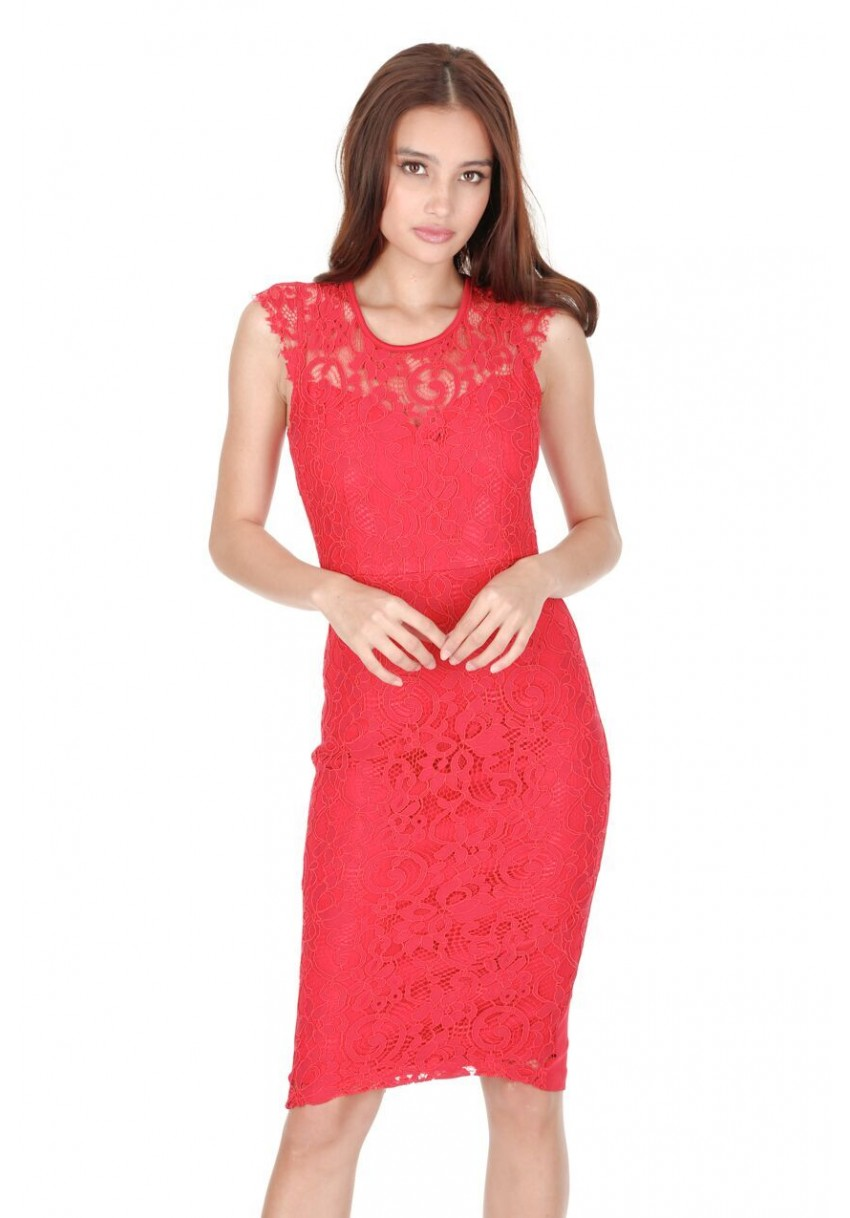 AX-Paris-Womens-Red-Lace-Bodycon-Midi-Dress- 00fc648528