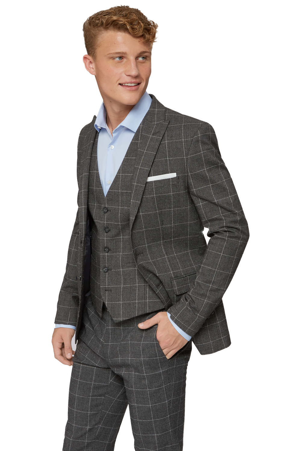 Moss Bros Mens Charcoal Grey Suit Jacket Check