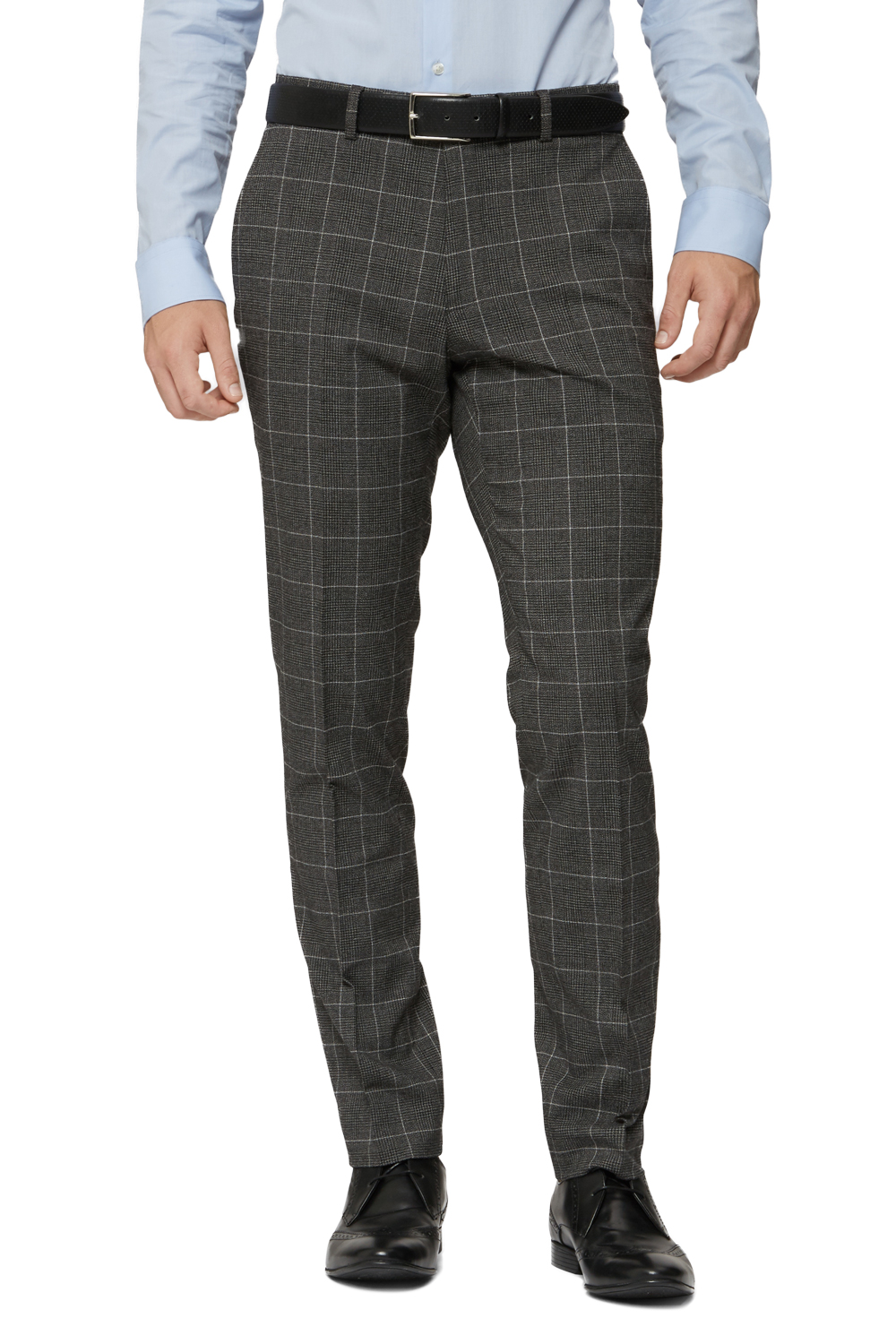 Moss Bros Mens Charcoal Grey Suit Trousers Check Skinny Fit Formal Pants | EBay