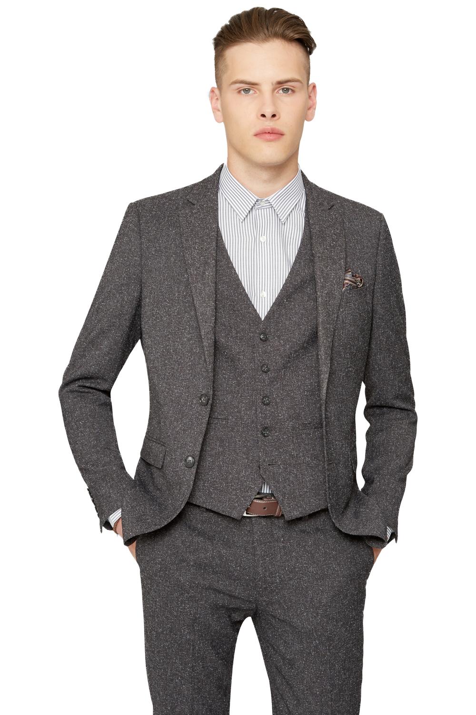 Moss Bros Mens Grey Suit Jacket Textured 2