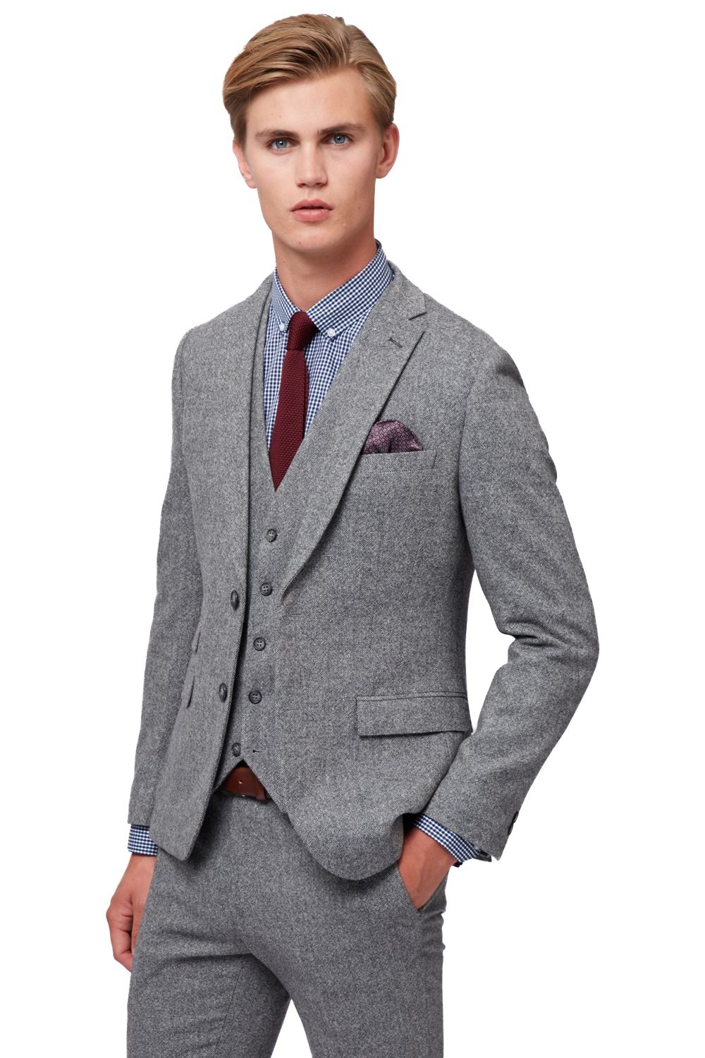 Moss Bros Mens Light Grey Donegal Suit Jacket