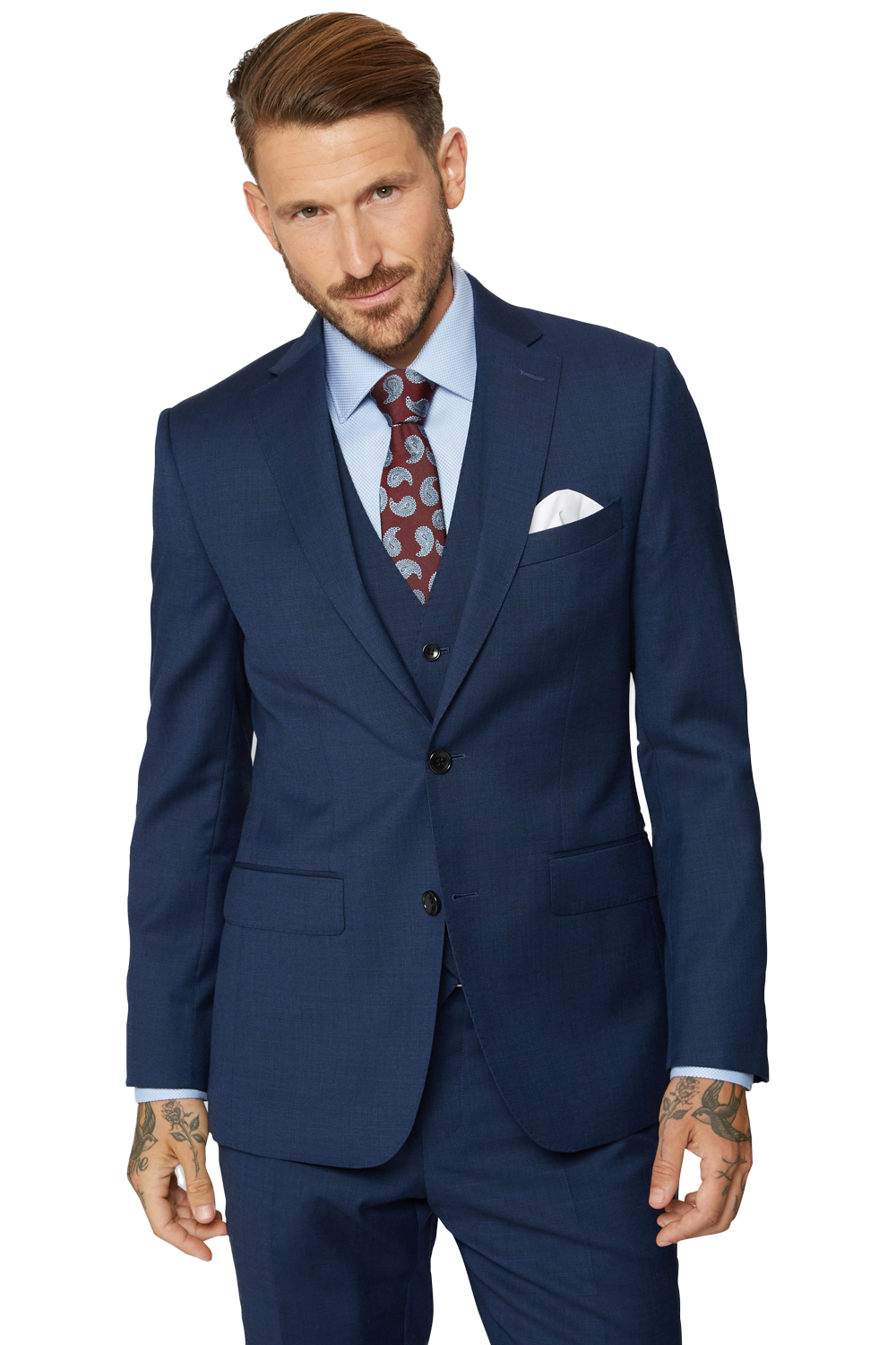 Moss Bros Mens Bright Blue Suit Jacket 2 Button Wool Tailored Fit ...
