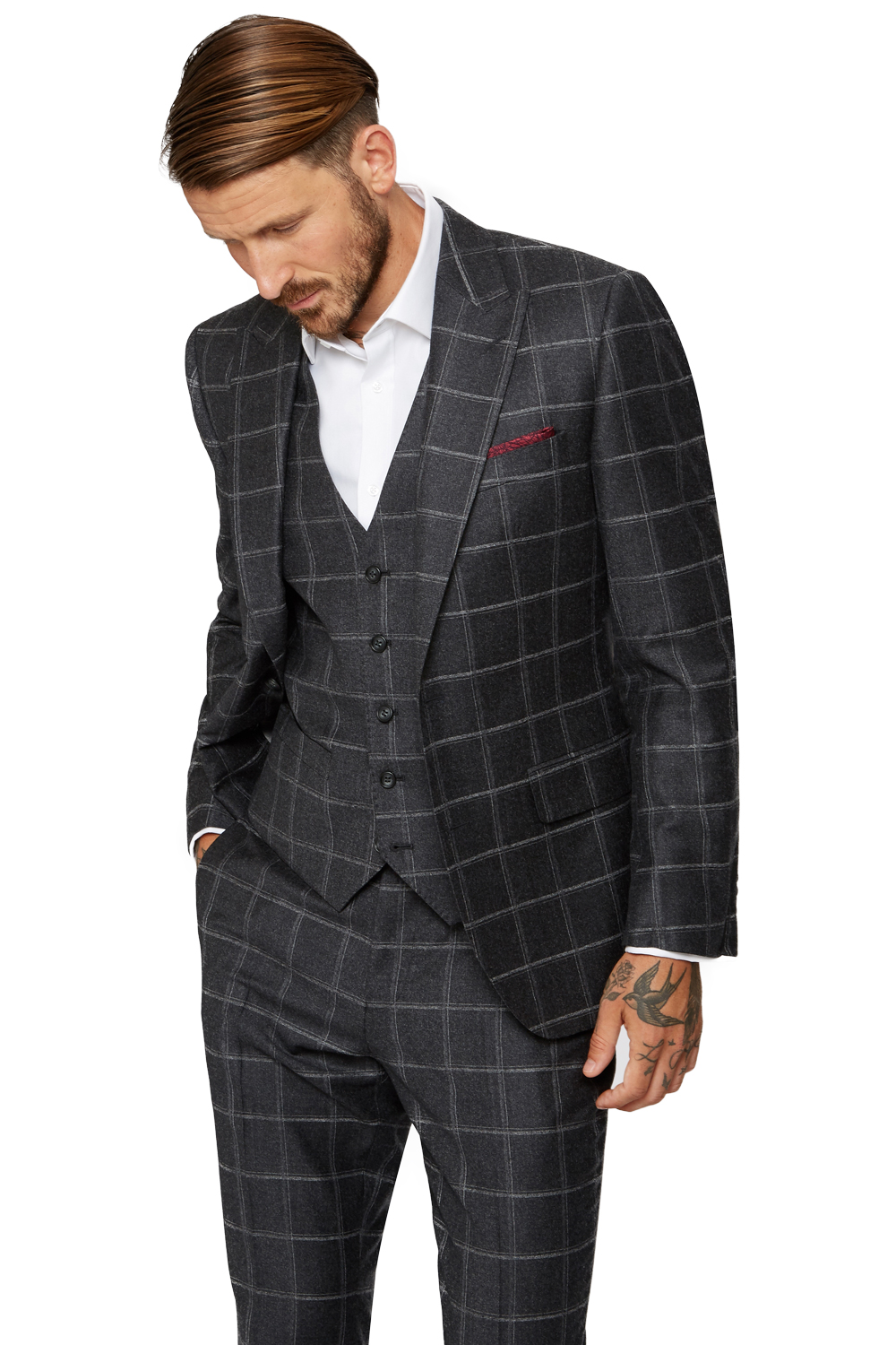 Moss Bros Mens Dark Grey Suit Jacket Tailored Fit Windowpane Check ...
