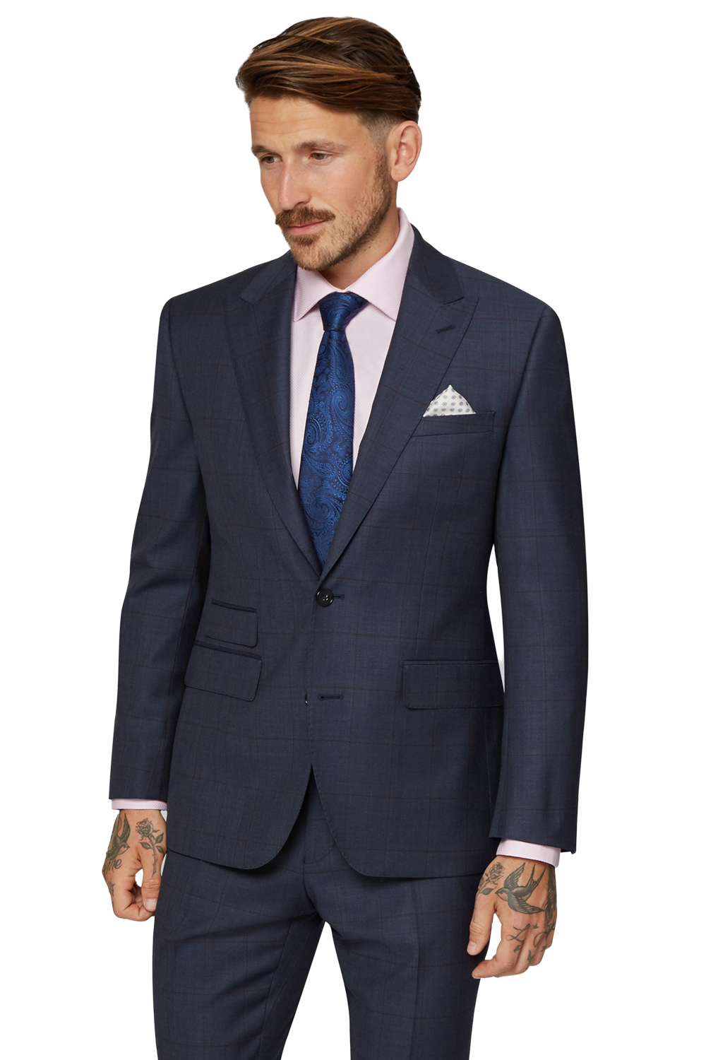 Moss Bros Mens Indigo Blue Suit Jacket 2 Button Check Tailored Fit ...