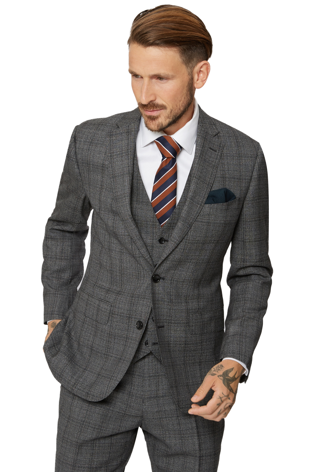5c982eb1d2b Moss Bros Mens Grey Suit Jacket 2 Button Wool Checked Tailored Fit Formal  Blazer