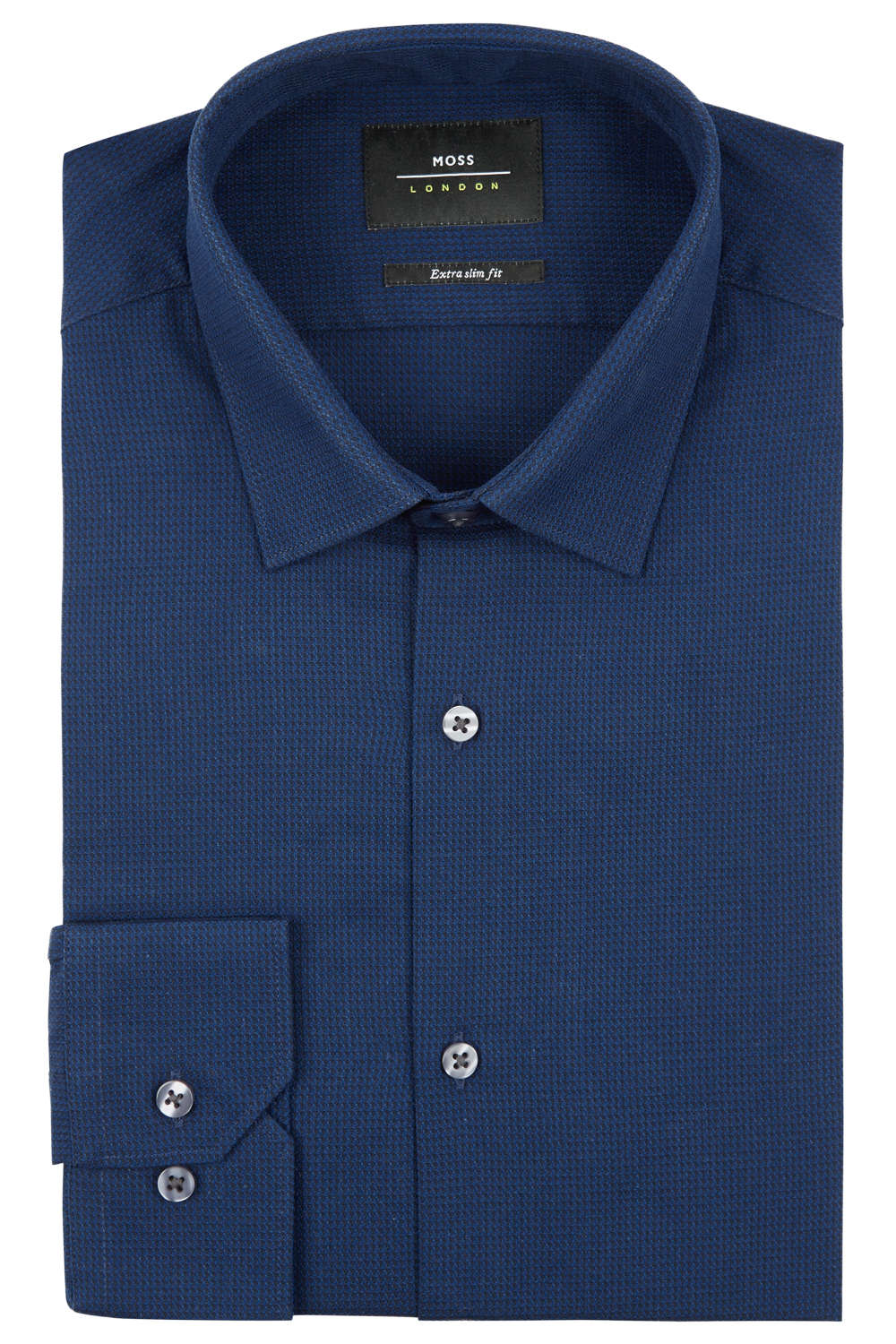 7292f96ef7 Moss Bros Mens Blue Formal Shirt Extra Slim Fit Single Cuff Puppytooth  Textured. Long sleeve; Classic collar; Single cuff; Textured; 100% cotton  ...