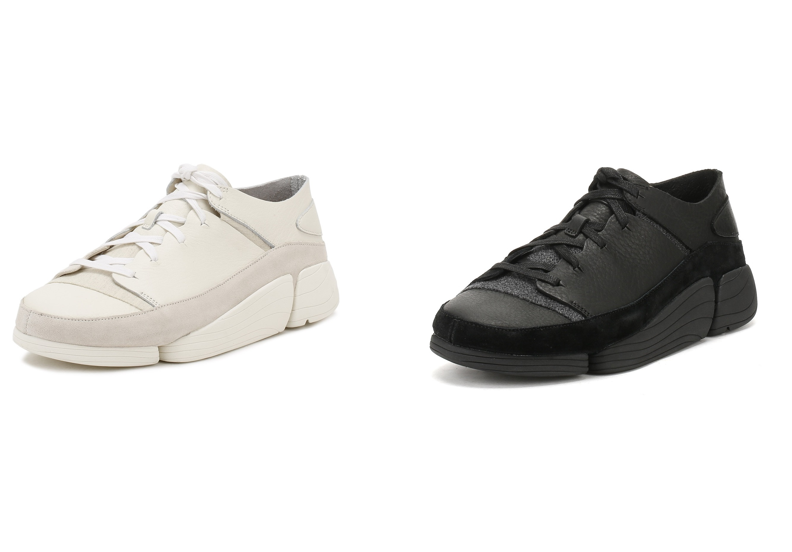 0d5ad16b8b854d ... part trainer/ part classic Clarks mocassin. The modern and stylish shoe  comes in high-quality leather with elastic fastening. The innovative  three-part ...