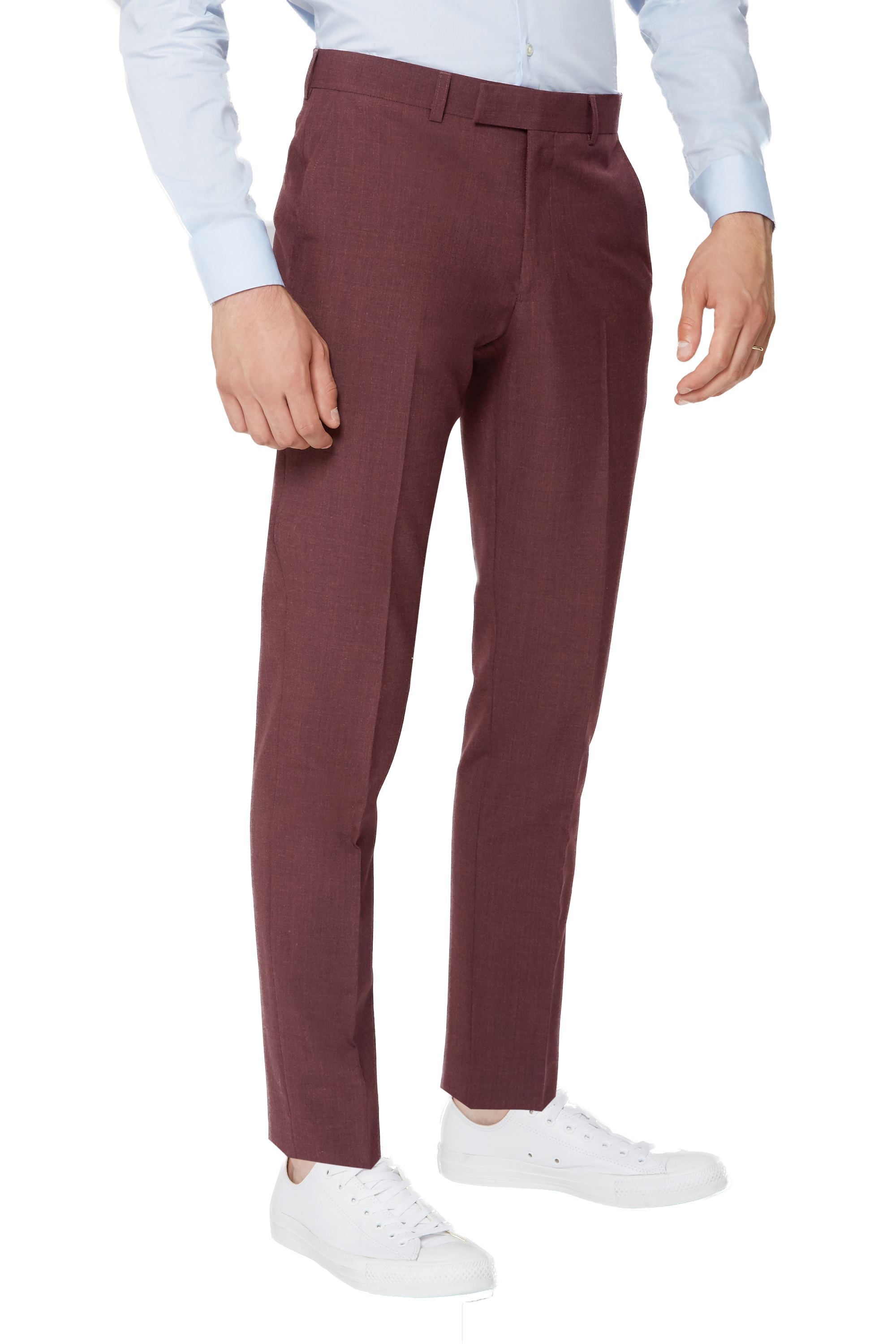 862c8f07482 Details about Moss London Mens Skinny Fit Brick Red Suit Trousers Half  Lined Mix   Match Pants