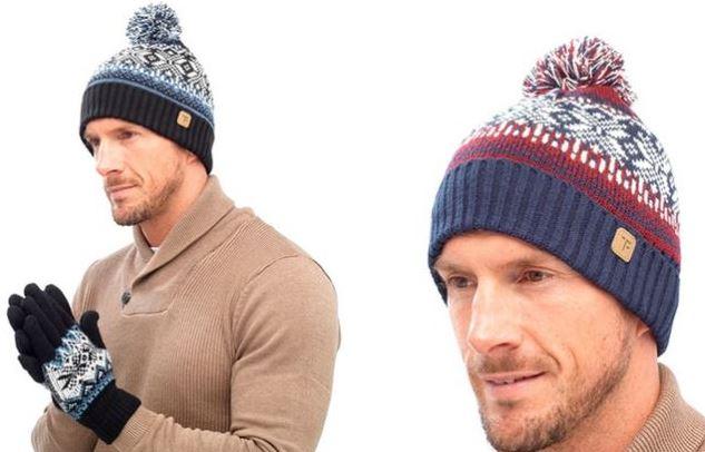 Mens Fair Isle Beanie Pom Pom Hat & Gloves Set, One Size Knitted ...