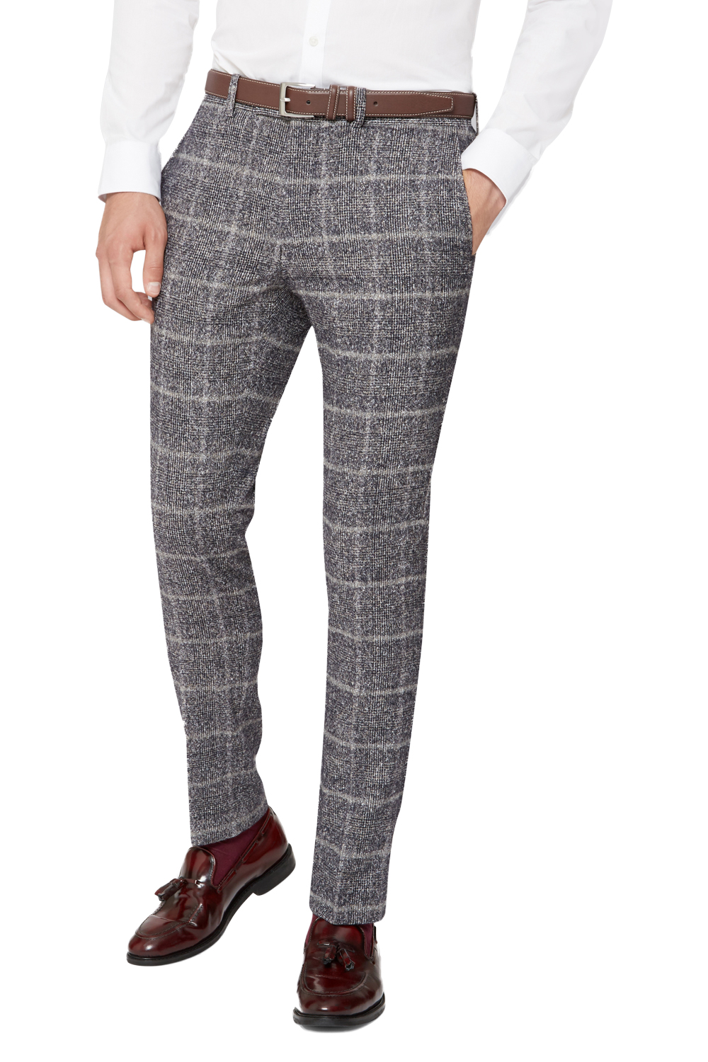 moss london mens grey suit trousers skinny fit speckled