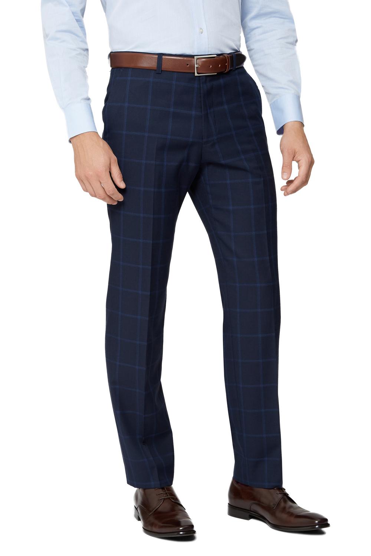 Moss Esq. Mens Navy Blue Suit Trousers Regular Fit Windowpane Check Formal Pants | EBay