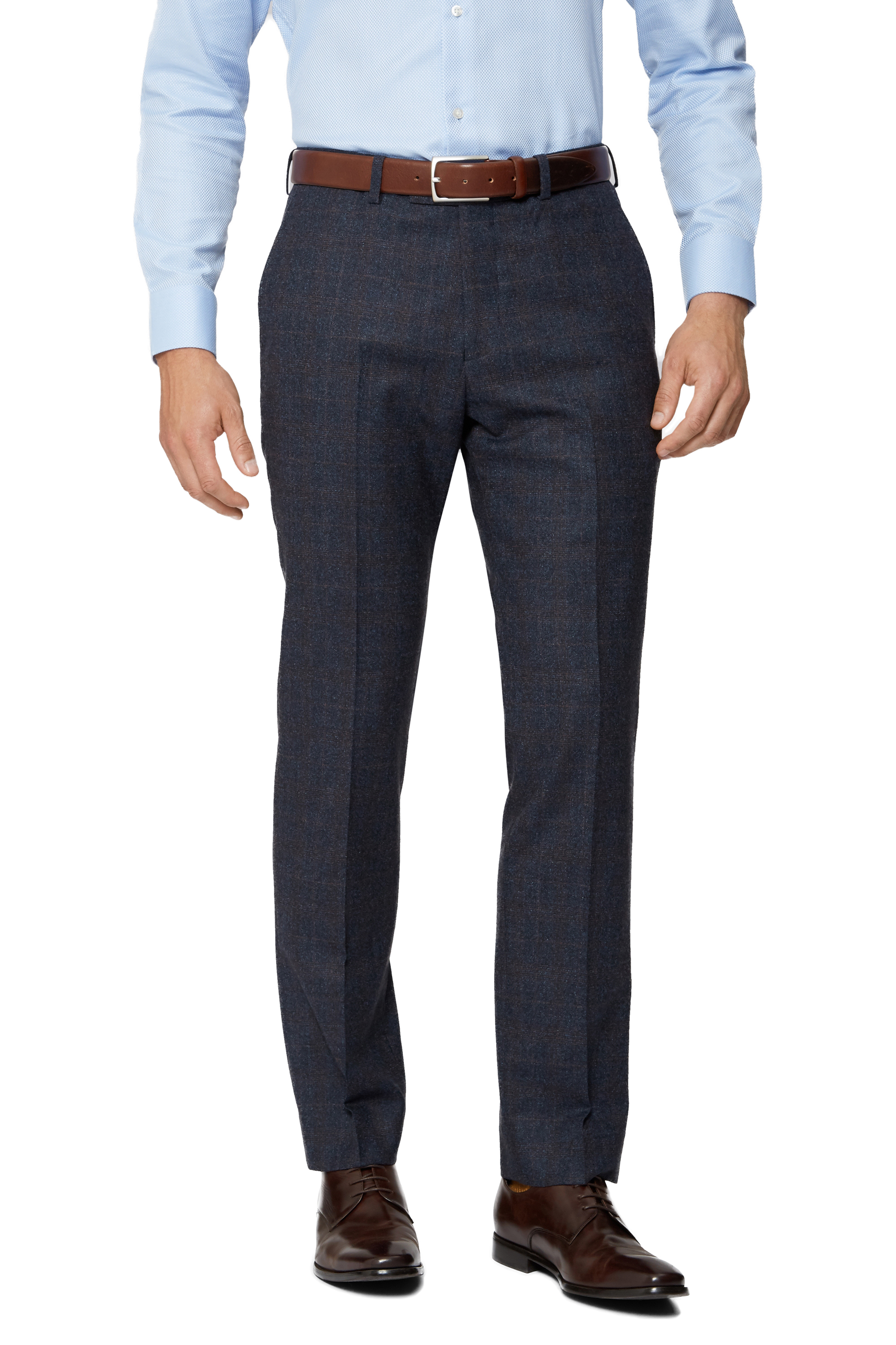 Cerruti Mens Navy Blue Suit Trousers Tailored Fit With Rust Check Formal Pants | EBay