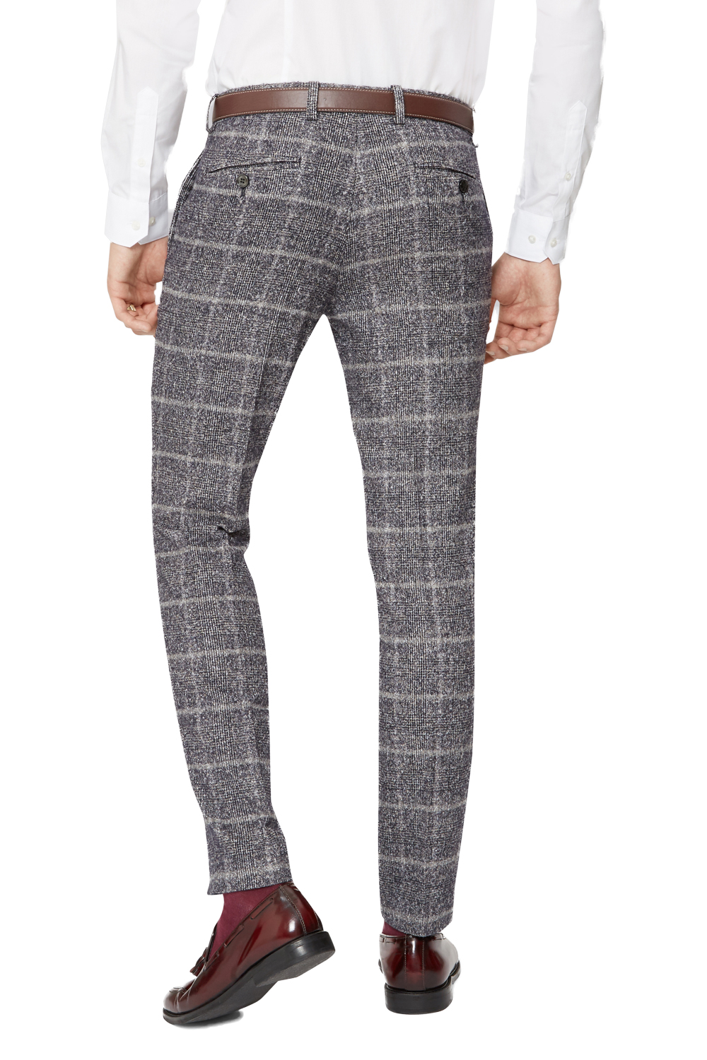 Moss London Mens Grey Suit Trousers Skinny Fit Speckled Check Formal Pants | EBay