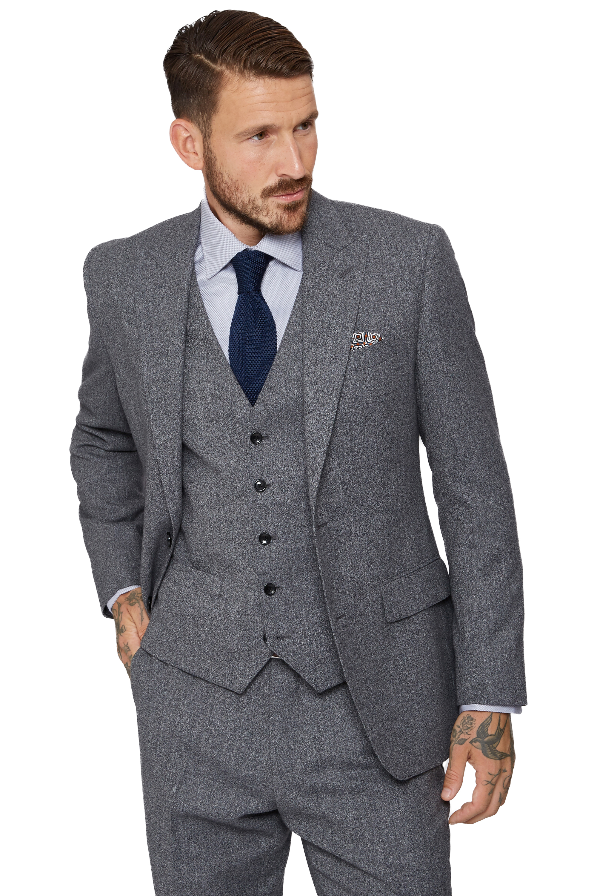 8d3ec83accc Moss 1851 Mens Grey Suit Jacket Tailored Fit Speckled Two Button Formal  Blazer