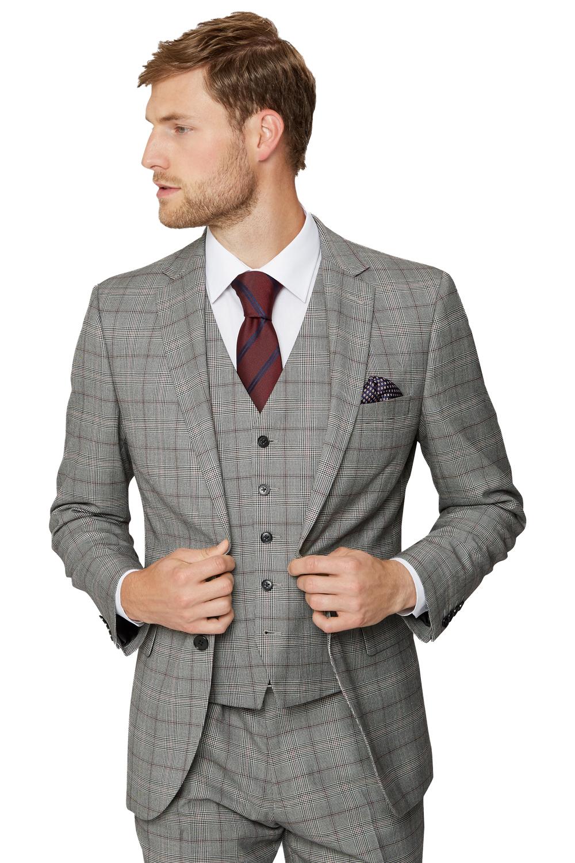 4358bb63 Moss Esq Mens Black & White Suit Jacket Regular Fit Prince of Wales Check  Blazer