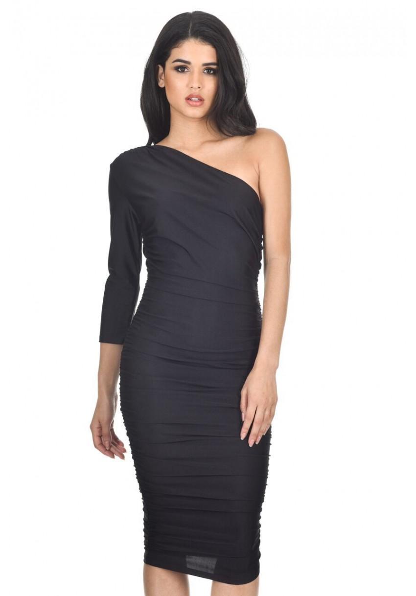 748a1c488ed9 AX Paris Women Black One Shoulder Midi Dress Ruched Skirt Long ...