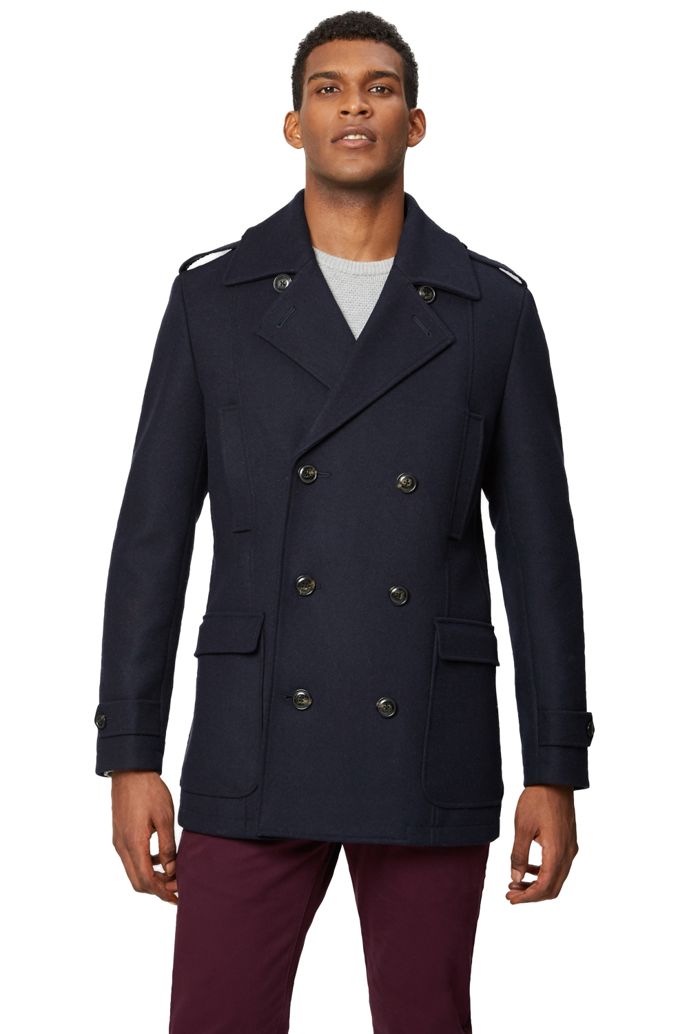 23a4b389f859 Moss 1851 Mens Tailored Fit Navy Blue Pea Coat Double Breasted Winter Jacket