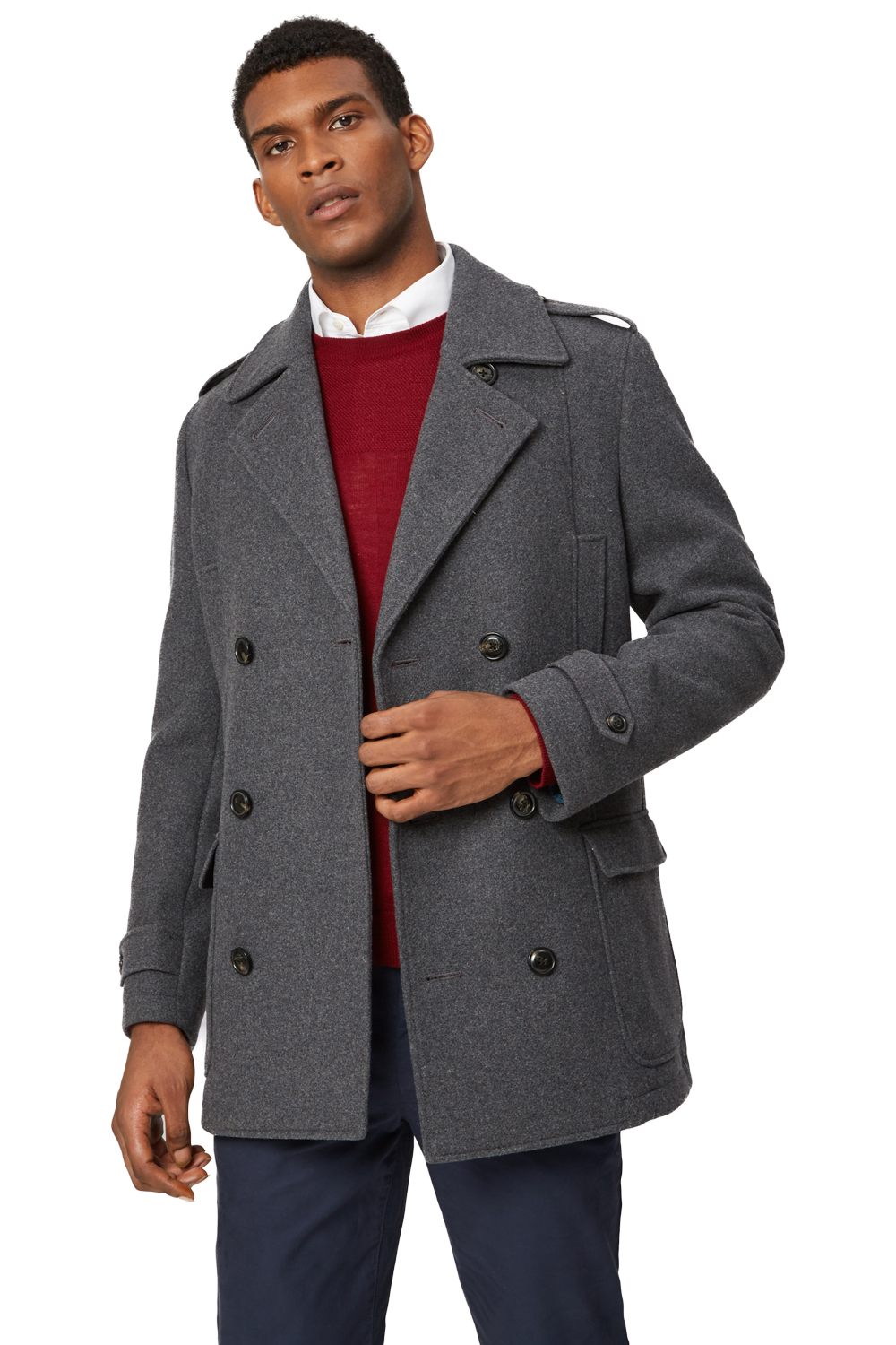 f70154e561a3 Moss 1851 Mens Tailored Fit Grey Pea Coat Double Breasted Winter Jacket