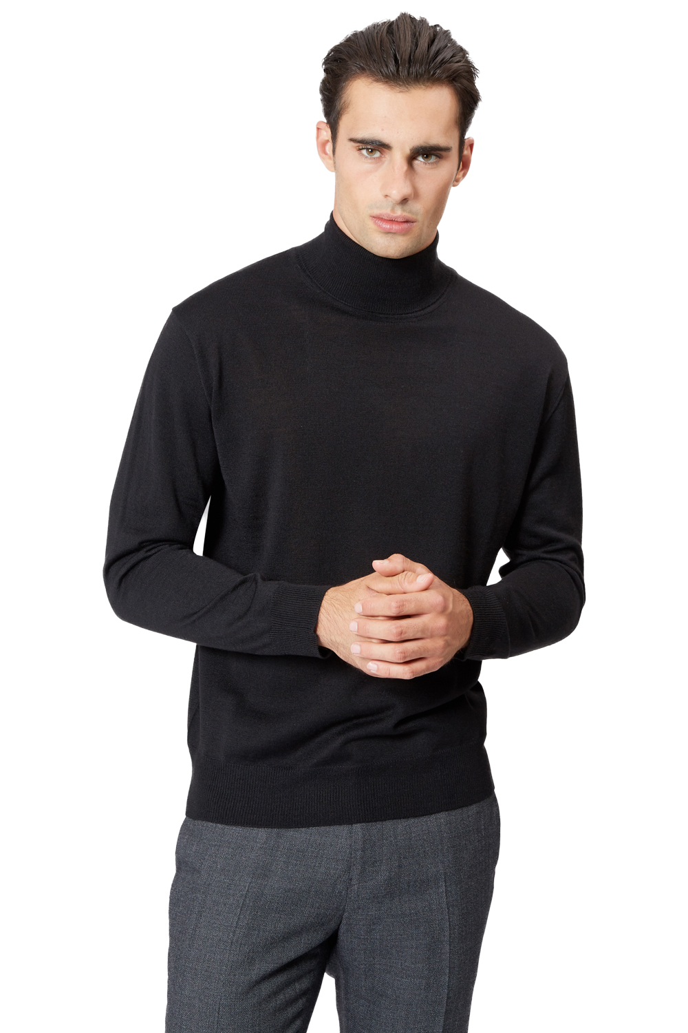 85744af89ca Details about Moss 1851 Mens Jumper Black Roll Neck Thin Knitwear Sweater  Pullover Top