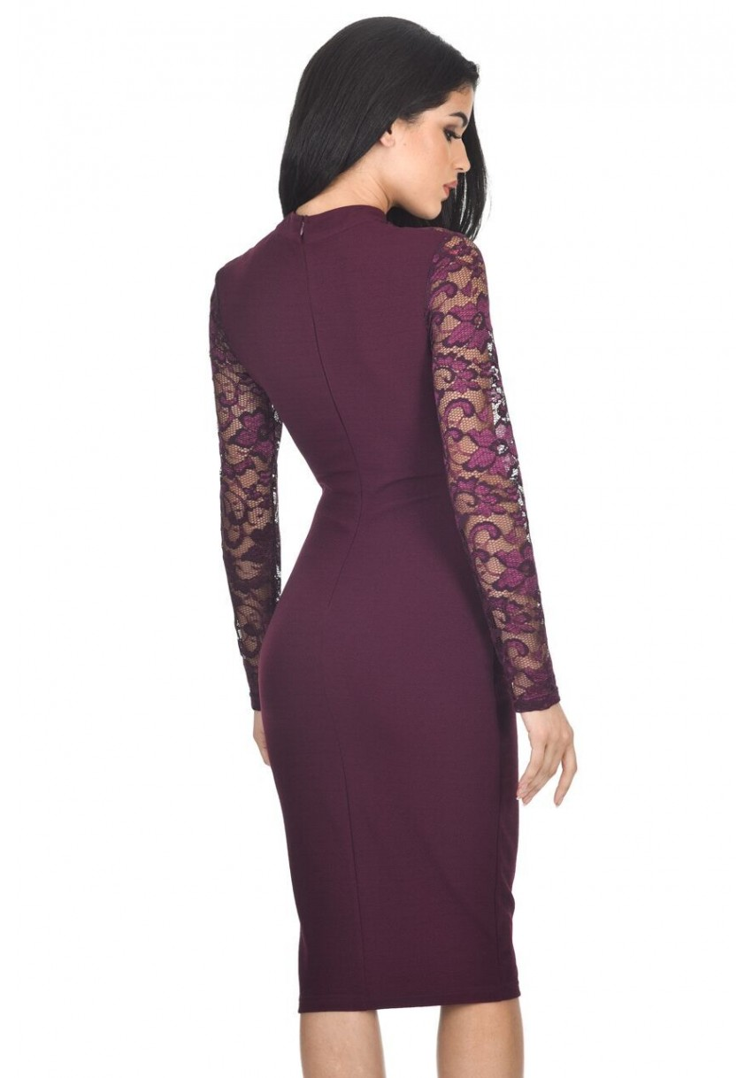 AX Paris Women Choker Midi Dress Cut Out High Neck Lace Long Sleeves ...