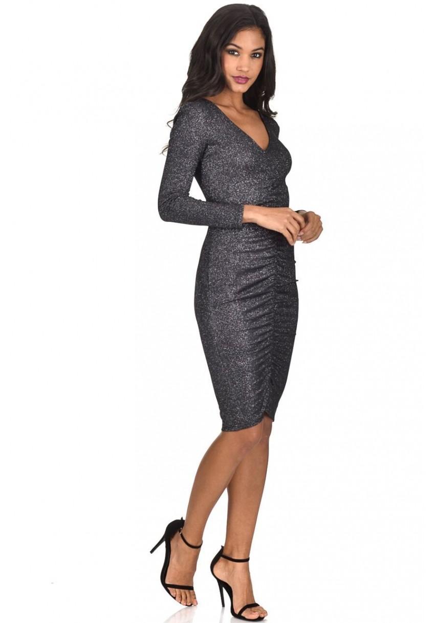 18546da592e92 AX Paris Women Black Sparkle Gathered Midi Dress V Neck Long Sleeve Bodycon