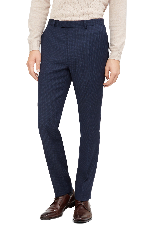 a795789ff03 Details about French Connection Mens Suit Trousers Slim Fit Navy Blue  Jacquard Formal Pants