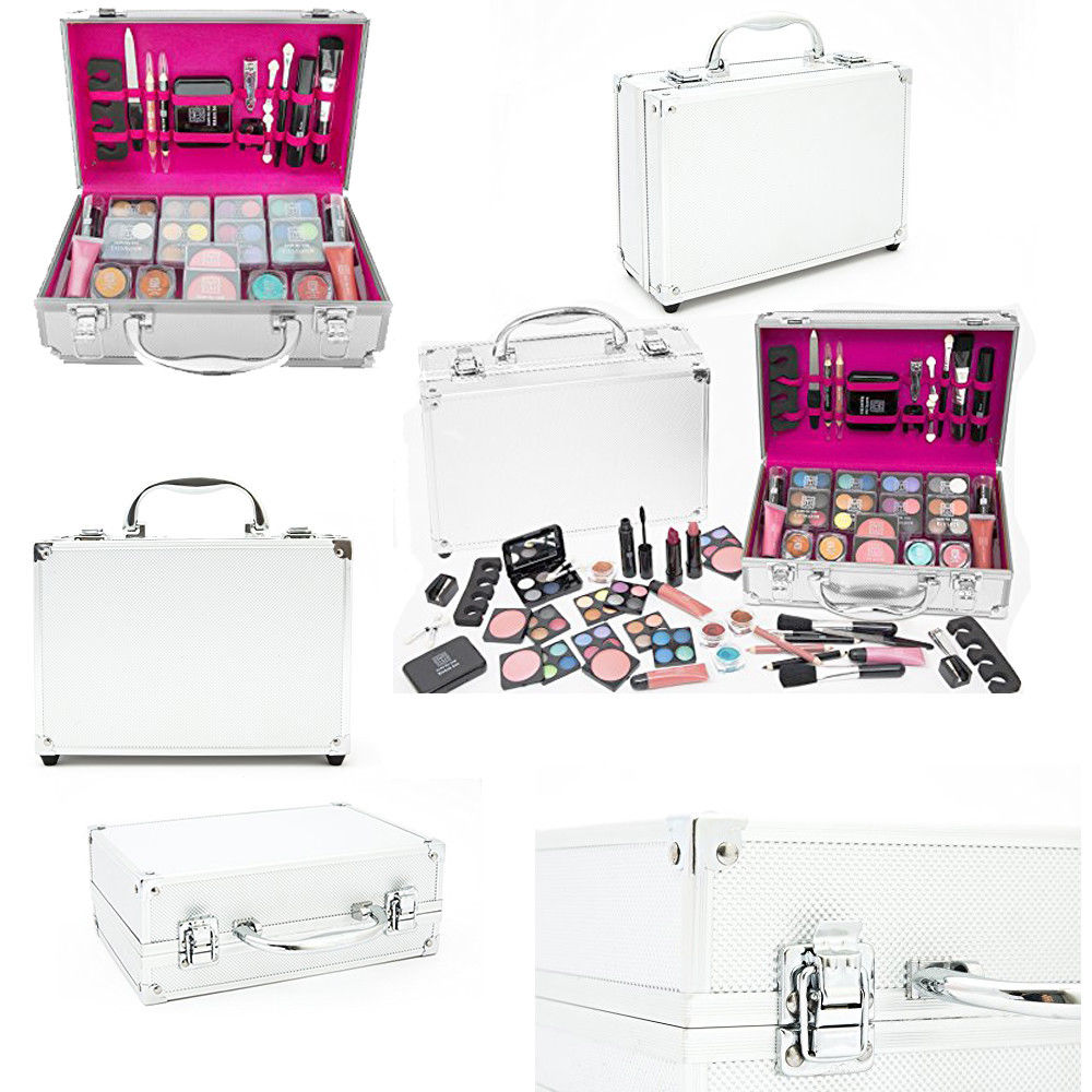 0156be6f9f17b2 54 Pcs Make Up Set & Vanity Case Beauty Silver Cosmetics Storage Box Nails  Kit