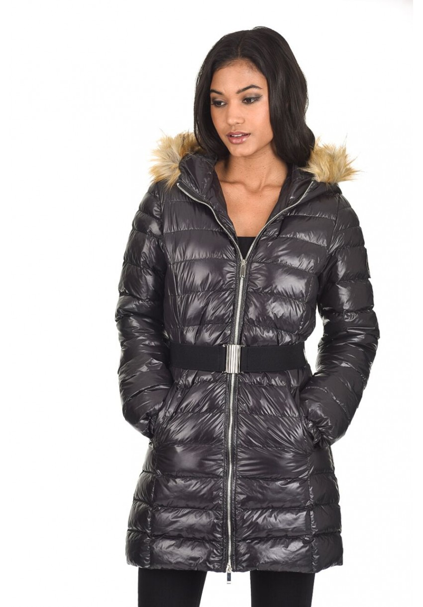 b2839c07f Details about AX Paris Womens Quilted Puffer Jacket Long Wet Look Coat  Hooded Zip Up & Belt