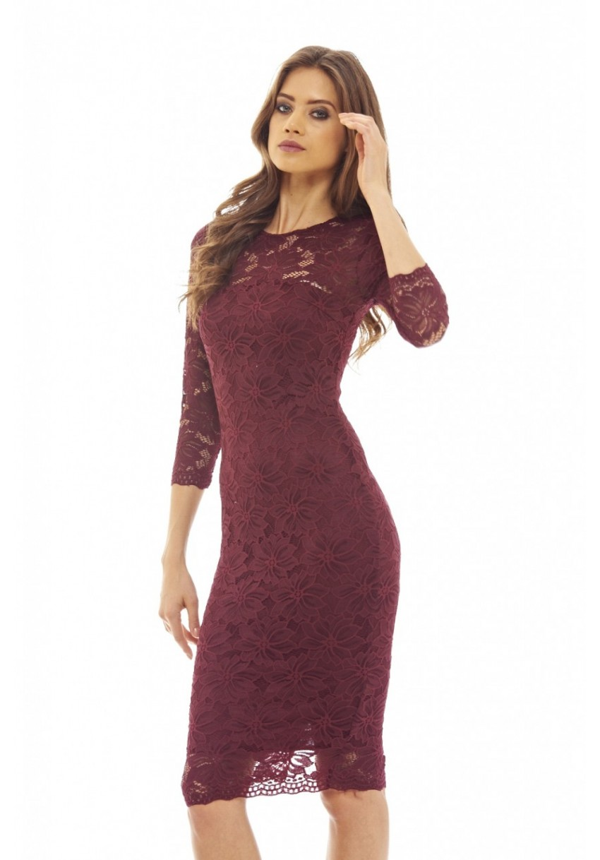 Ax Paris Womens Wine Bodycon Midi Dress Burgundy Lace Long