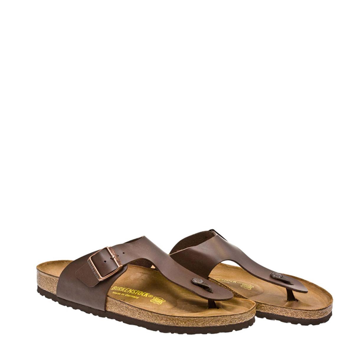 9aac9ff70f1a Details about Birkenstock Ramses Birko-Flor Mens Brown Leather Sandals Toe  Post Summer Shoes