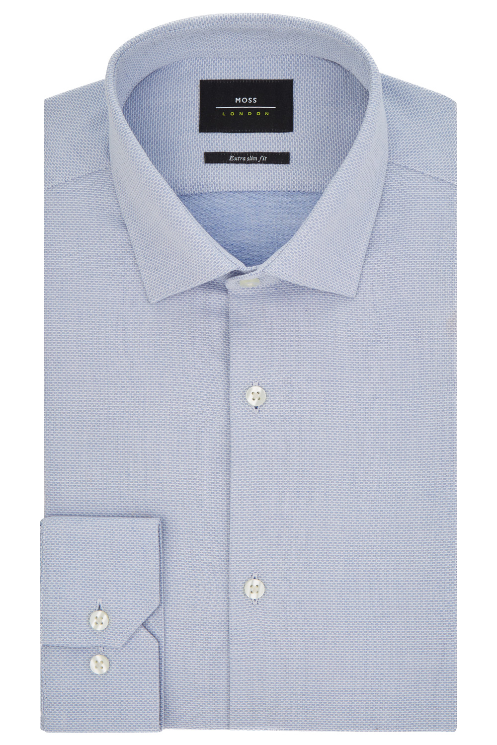 Moss-London-Mens-Shirt-Extra-Slim-Fit-Sky-Blue-Single-Cuff-Oval-Texture-Cotton
