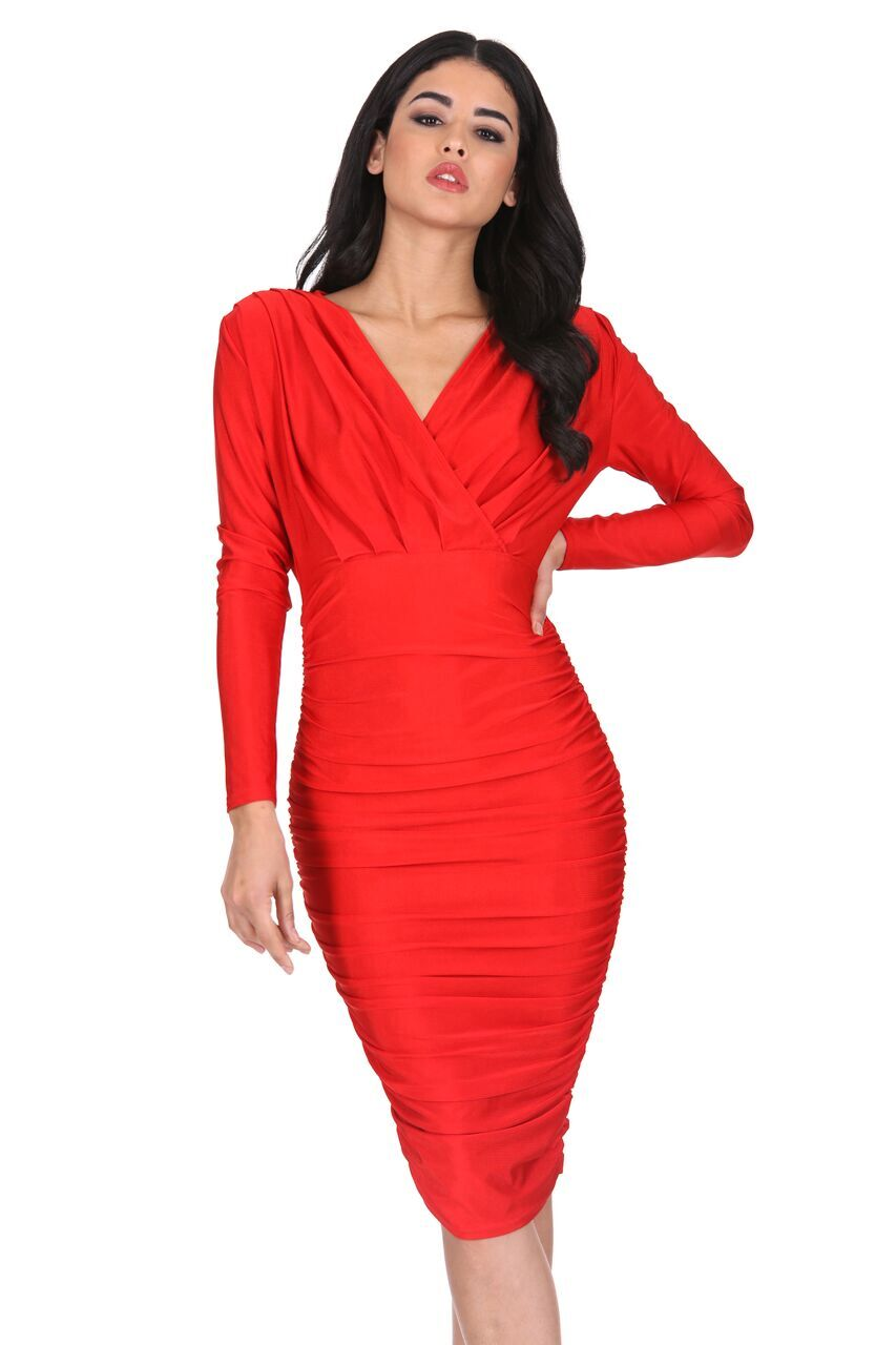 AX Paris Womens Red Ruched Wrap Dress Long Sleeve Bodycon V Neck ...