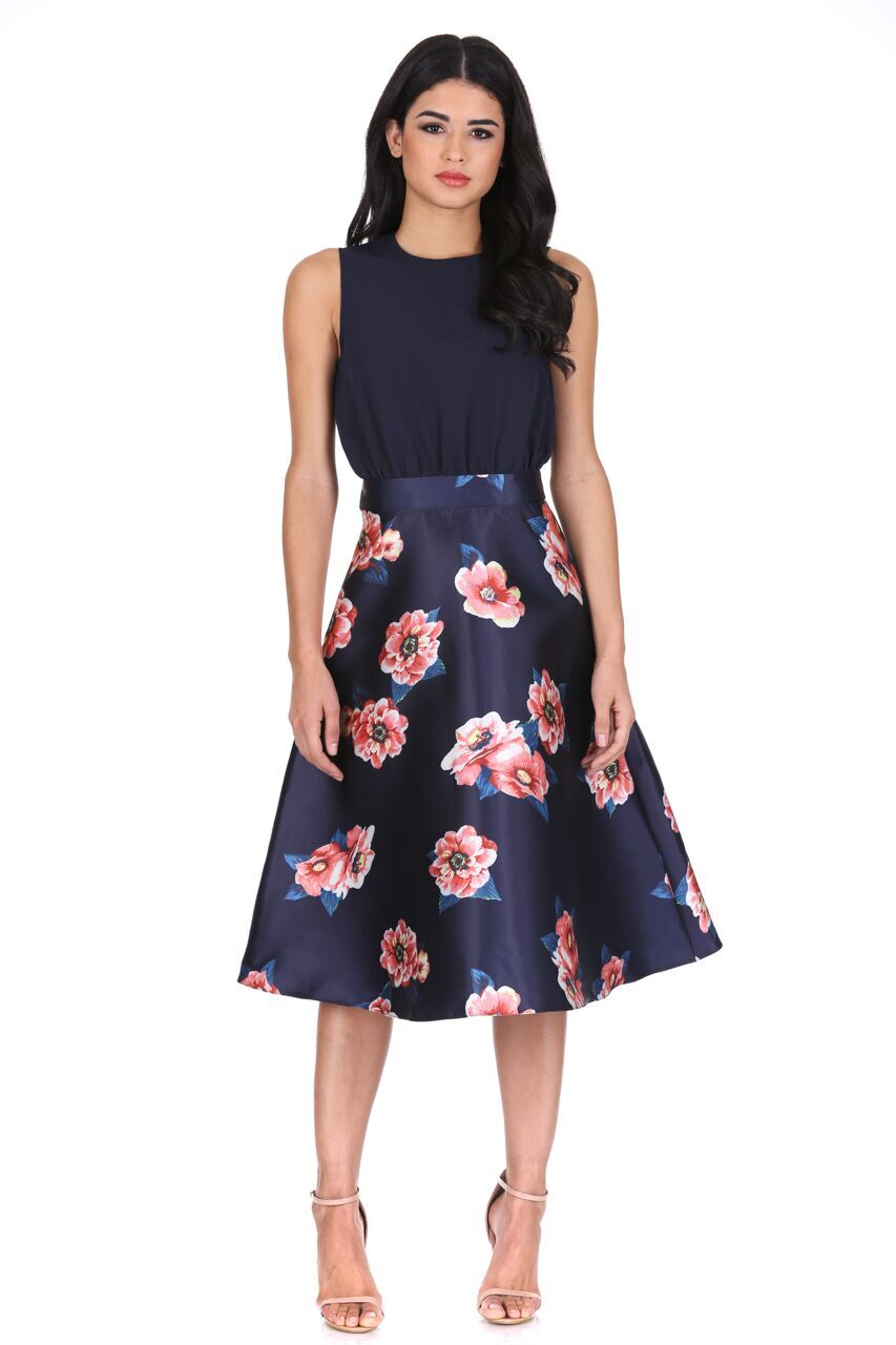 Details about AX Paris Womens Midi Skater Dress Navy Blue 2 in 1 Floral  Print Ladies 24c580bbc