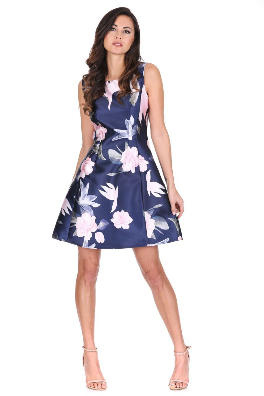 2404d78ce6 ... super cute AX-Paris-Womens-Mini-Skater-Dress-Navy-  pick up Womens  Dresses White Blue Floral Print Canada ...