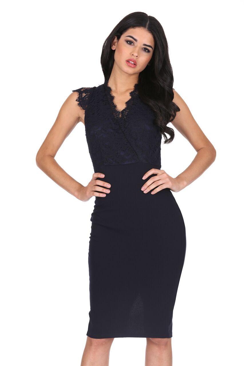 AX Paris Womens Midi Bodycon Dress Navy Blue V Neck Lace Cap Sleeve ... 11167087e4