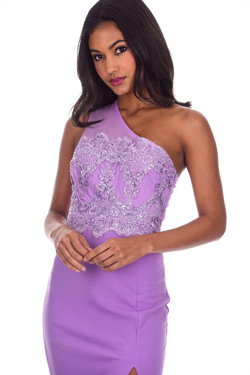 AX Paris Womens Lilac Asymmetric Maxi Dress Sequin Crochet Top ...