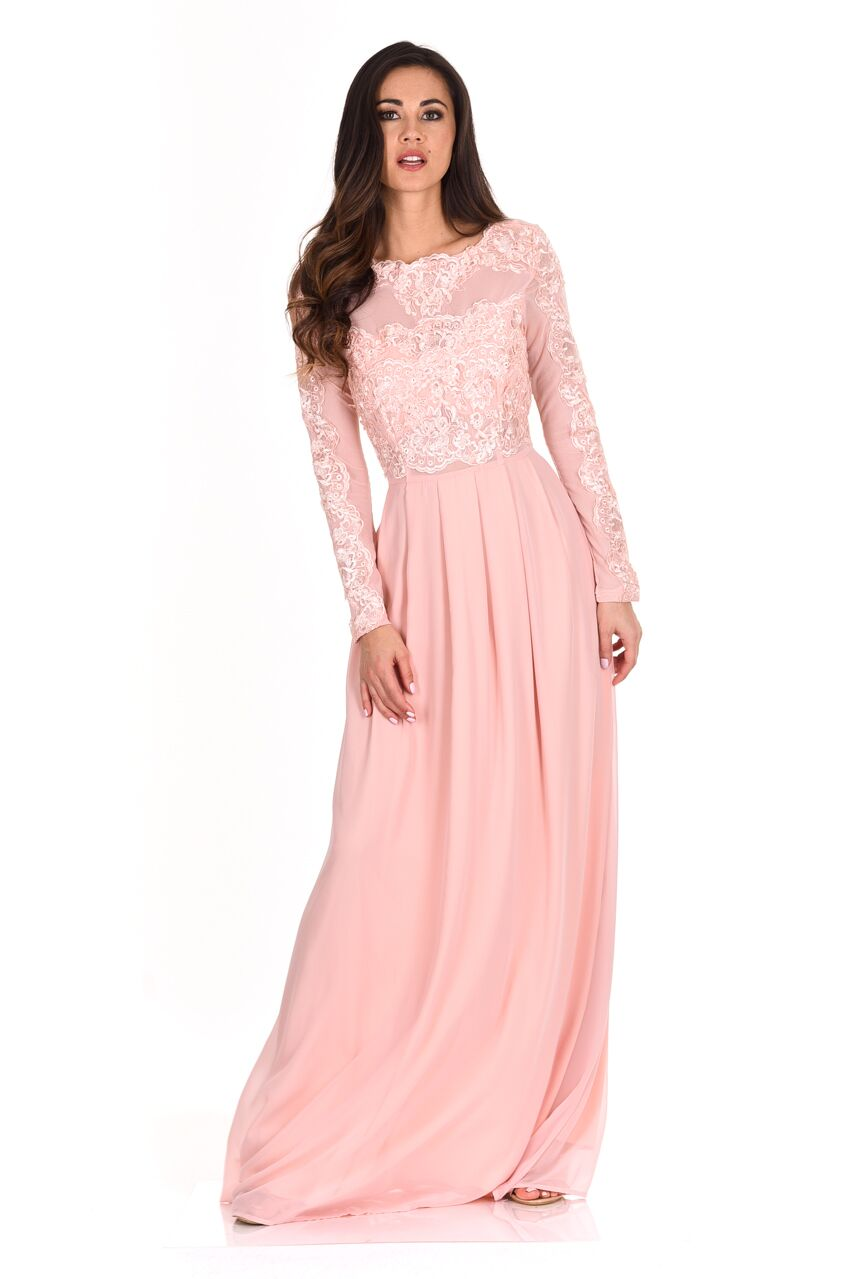 ba3dc18717287 AX Paris Womens Blush Maxi Dress Lace Detail Long Sleeve Chiffon Skirt  Ladies
