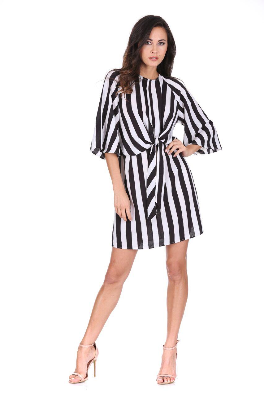 d03a4daed52 AX Paris Womens Mini Dress Black   White Striped Tie Waist 3 4 ...