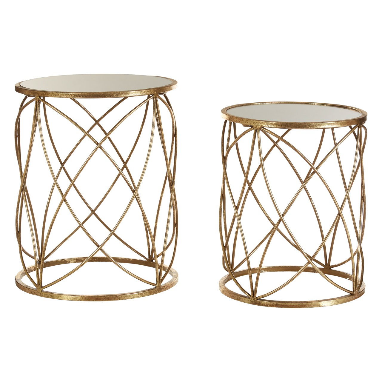 Arcana Side Tables Mirror Top Distressed Gold Metal Round Set Of 2