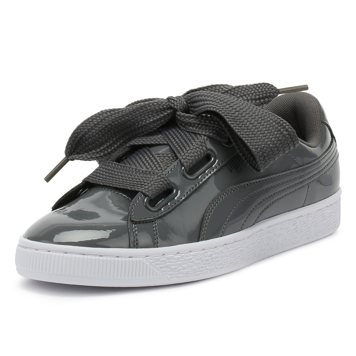 low cost 7f6c8 7e8a0 PUMA WOMENS TRAINERS Iron Gate Grey Basket Heart Patent Ladies Casual Shoes