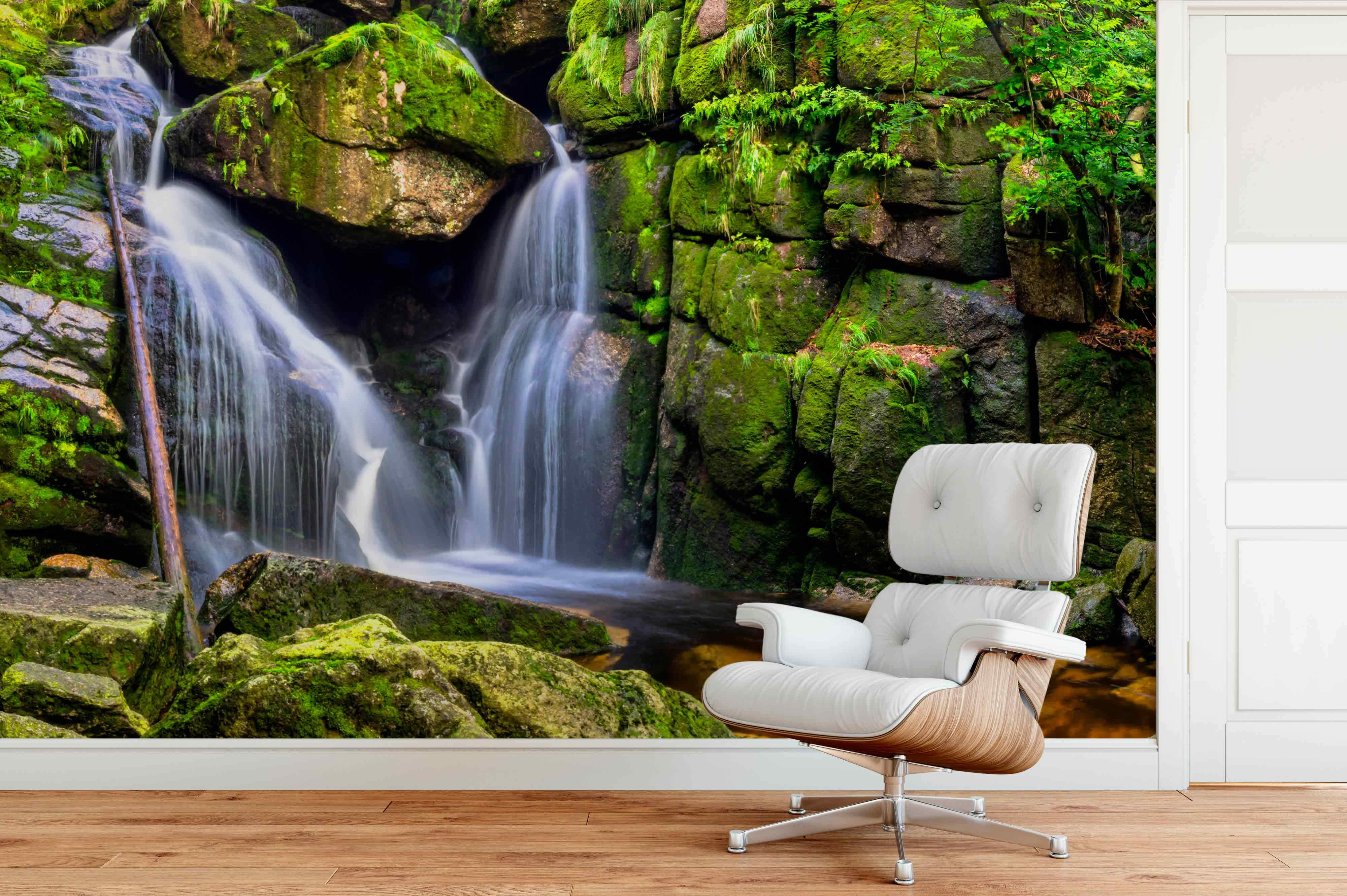Waterfalls Chair Mural Wallpaper Photo Lanscape Nature