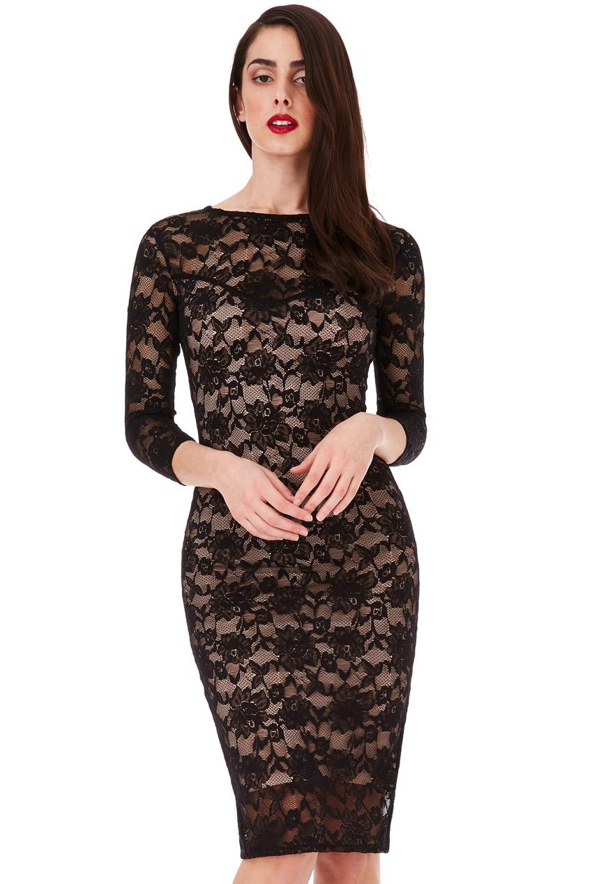 Details about Goddiva Womens Black Lace Midi Dress 89efecef24