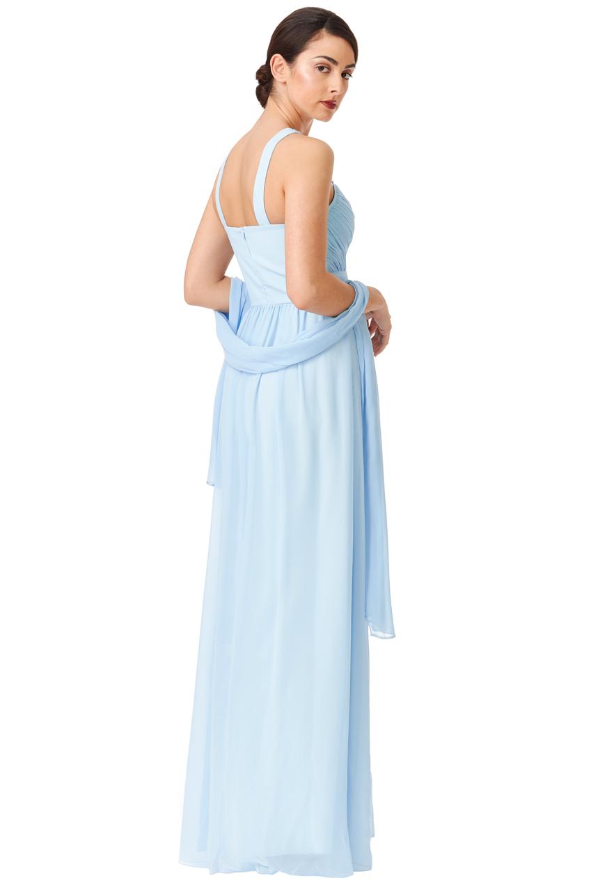 e9235e69c7ea Goddiva Womens Light Blue Maxi Dress with Scarf, Embellished Chiffon ...
