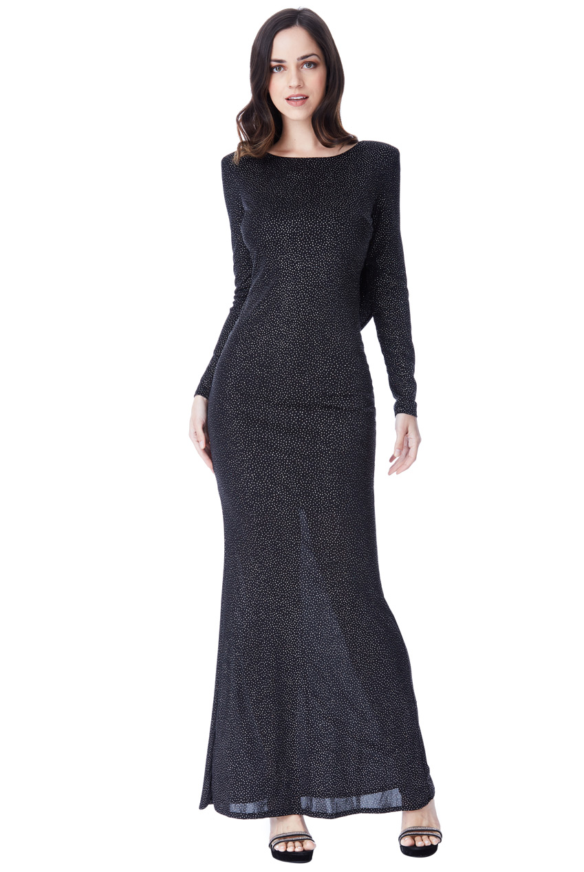 6c0f6686687d Details about Goddiva Glitter Maxi Dress Cowl Back Long Sleeve Evening  Christmas Cocktail