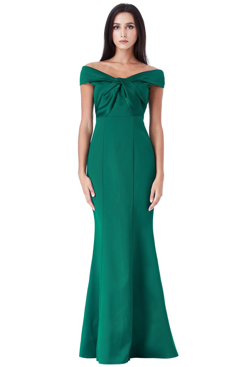 7c9573308be9 Image is loading Goddiva-Womens-Emerald-Bardot-Maxi-Dress-Off-Shoulder-