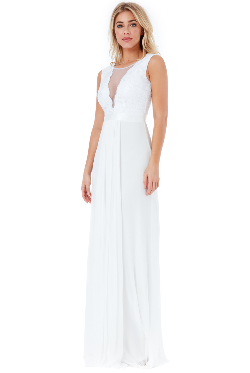 Goddiva Womens White Chiffon Maxi Wedding Dress, V Neckline ...